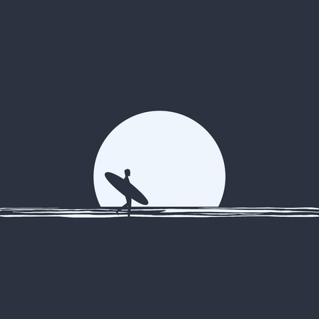 surfer silhouette: Surfer silhouette walking in front of moon on the beach at night holding his surfboard. Active freedom lifestyle concept. Eps10 vector illustration. Illustration