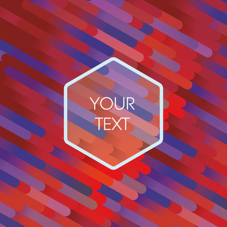 diagonal: Retro stripes in 70s and 80s style with hexagonal badge for your text. Red, orange, blue, purple color gradients background. Eps10 vector illustration.