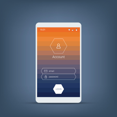 menu buttons: Smartphone login menu. Mobile user interface with gradient background and hexagon icons, buttons. Eps10 vector illustration.