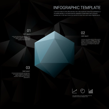 geometric shapes: Black low poly background with infographics menu options for business presentations. Blue geometric diamond hexagonal shapes. Eps10 vector illustration.
