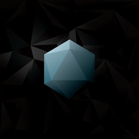 diamond shape: Abstract Black low poly background with blue geometric diamond hexagonal shape. Eps10 vector illustration.