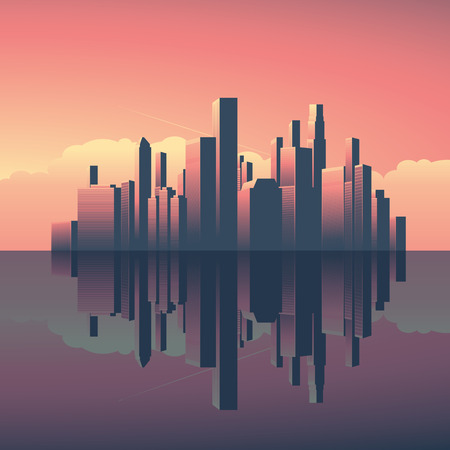 morning sunrise: Modern urban cityscape in sunrise or sunset. Skyscrapers in evening, morning light with reflection on water. Business commercial center for corporate world. Eps10 vector illustration.
