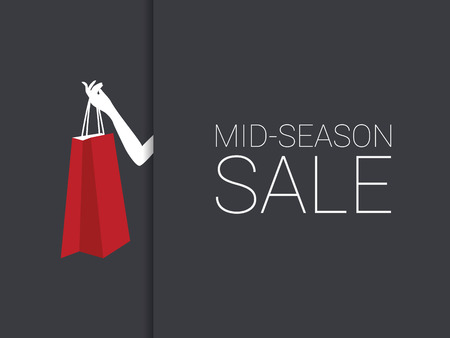 woman holding bag: Mid season sale poster with woman hand holding red shopping bag. Discounts promotion banner. Eps10 vector illustration.
