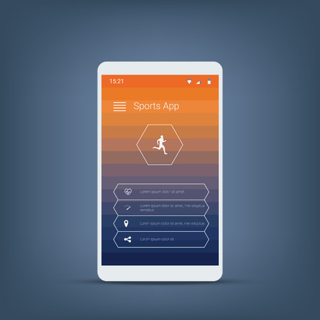 slick: Fitness tracker or sports app user interface icons template for smartphone. Eps10 vector illustration. Illustration