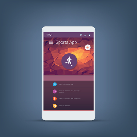 sports app: Fitness tracker or sports app user interface icons template for smartphone. Eps10 vector illustration. Illustration