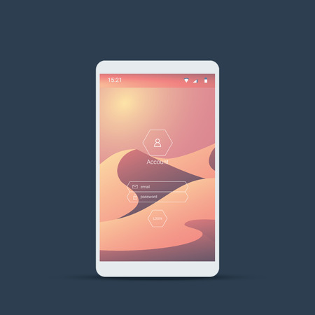 page design: Mobile user interface login screen. Smartphone icons for account and password with natural desert dunes landscape vector background. Eps10 vector illustration.