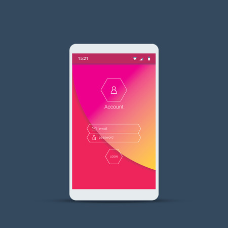 website icons: Mobile user interface login screen. Smartphone icons for account and password with material design vector background in pink color. Eps10 vector illustration.