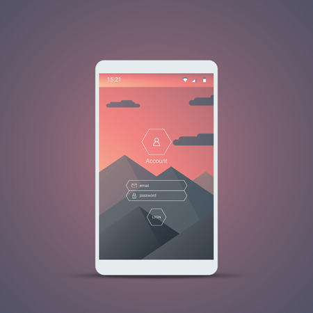 login form: Mobile user interface login screen. Smartphone icons for account and password with mountains landscape vector background. Eps10 vector illustration.
