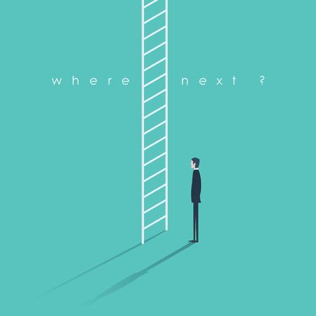 corporate ladder: Corporate ladder concept illustration. Businessman making big career decision. Eps10 vector illustration.