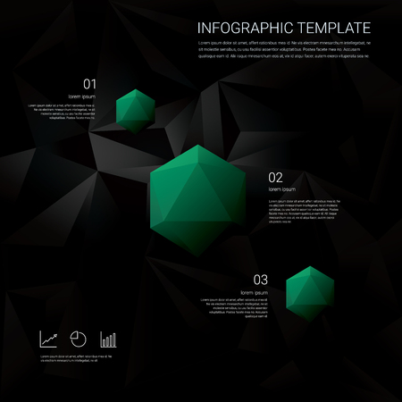 geometric shapes: Black low poly background with infographics menu options for business presentations. Blue geometric diamond hexagonal shapes. Eps