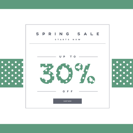 Spring sale Banner auf grün Low-Poly-Hintergrund mit elegante Typographie für Luxuskaufangebote in der Mode. Moderne einfache, minimalistisches Design mit Tupfen. Eps10 Vektor-Illustration Vektorgrafik
