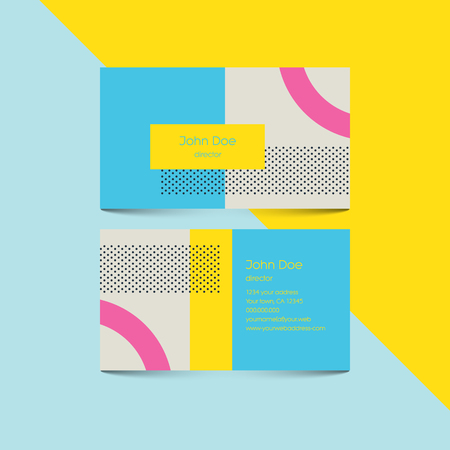 80's: Material design business card template with 80s style background. Modern retro elements and geometric shapes.