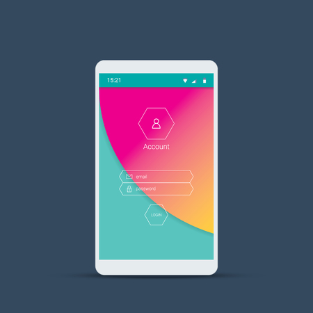 menu buttons: Mobile user interface screen with material design background. Login menu icons and buttons on pink, green backdrop. Illustration