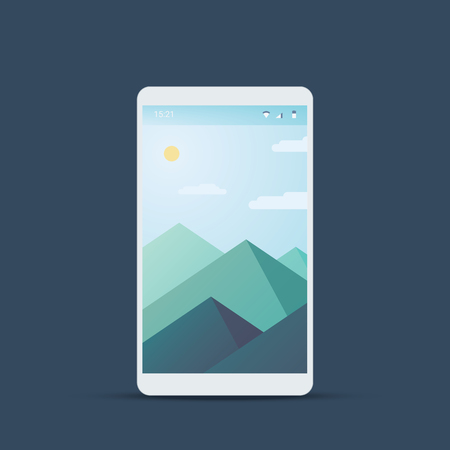 interface: Mobile user interface screen with material design background. Mountains landscape backdrop and summer weather. Illustration
