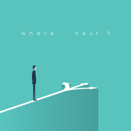 confusion: Business decision concept illustration. Businessman standing in front of arrows as symbol for choice, career path or opportunities. Illustration