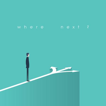 toma de decisiones: decisión concepto de negocio ilustración. El hombre de negocios de pie delante de las flechas como símbolo de la elección, ruta o las oportunidades de carrera. Vectores