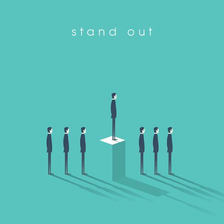 Standing out from the crowd business concept with businessmen in line. Talent or special skills symbol.