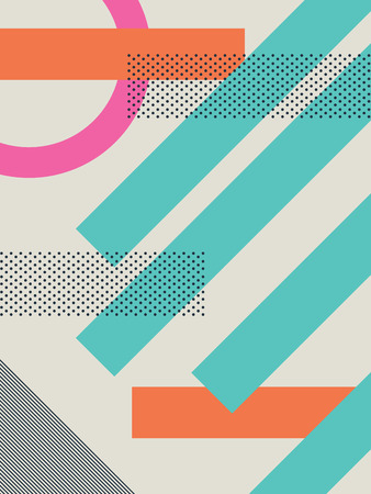 80s: Abstract retro 80s background with geometric shapes and pattern. Material design wallpaper.