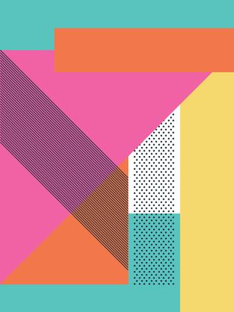 Resumen de fondo 80s retro con formas geométricas y patrones. fondos de escritorio de diseño de materiales. Ilustración de vector