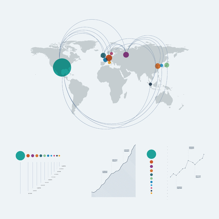 data line: Infographics template with world map and line art graphs, charts. Data report presentation layout. Illustration