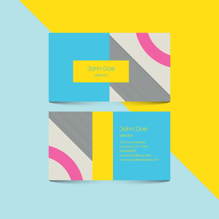 80's: Business card template with abstract retro 80s background, geometric shapes and pattern. Eps10 vector illustration.
