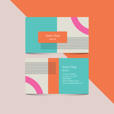 Business card template with abstract retro 80s background, geometric shapes and pattern. vector illustration.