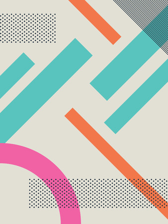 90s: Abstract retro 80s background with geometric shapes and pattern. Material design wallpaper. Eps10 vector illustration. Illustration