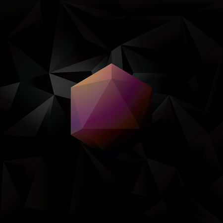 elegant wallpaper: Abstract diamond 3d polygon symbol on black low poly vector background. Elegant luxurious wallpaper with sign. Illustration