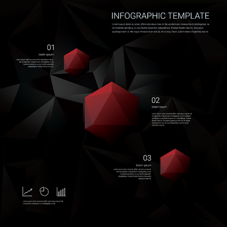 finance report: Abstract diamond 3d polygon symbol on black low poly vector background. Business infographics template with finance elements, graphs and charts. Corporate presentation or report layout. Illustration