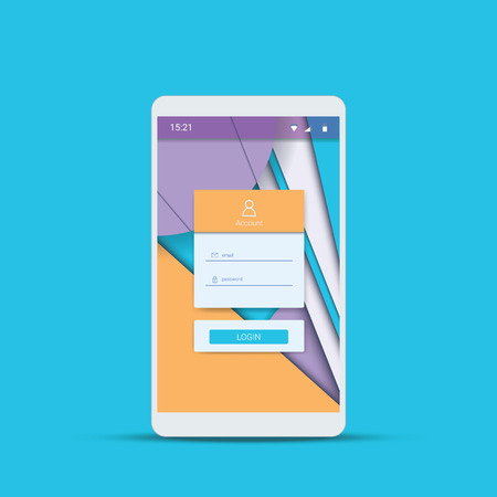 mobile app: Mobile user interface vector template with material design polygonal background. Geometric shapes app wallpaper. Illustration