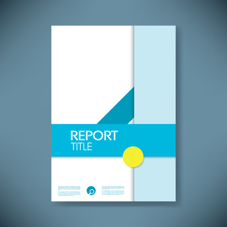 business report: Report cover template in modern material design style with geometric shapes. Annual business report presentation mockup.
