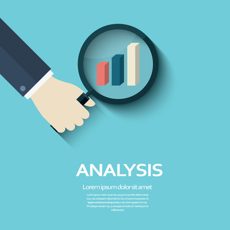 hand holding sign: Business analysis concept symbol with hand holding magnifying glass and looking at graph sign. Data report icon for corporate presentations.