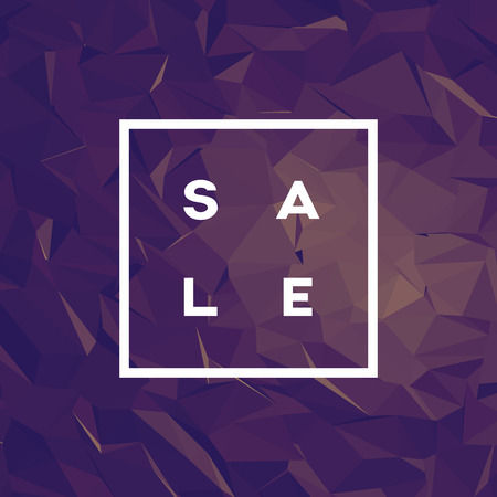 luxurious: Sale poster with polygonal background and creative typography. 3d low poly style wallpaper in purple elegant luxurious color.