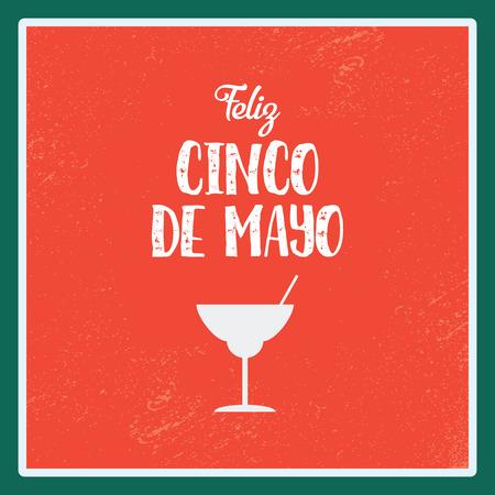 margarita drink: Cinco de Mayo poster vector illustration. Margarita alcohol drink symbol on red background. Illustration