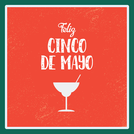 Cinco de Mayo poster vector illustration. Margarita alcohol drink symbol on red background. Illustration