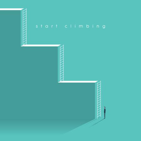 Carrière corporate ladder begrip vector illustratie. Zakenman beginnend beroepsbeoefenaar werken met uitdagingen. Stockfoto - 55668600