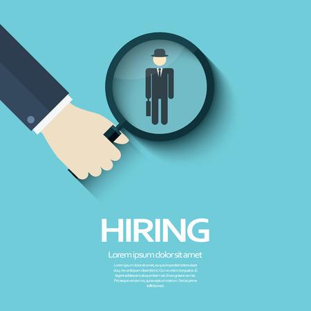 Embaucher modèle d'affiche avec loupe symbole de verre et un homme d'affaires. Business concept de recrutement.