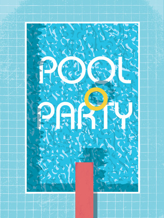 swimming to float: Pool party invitation poster, flyer or leaflet template. Retro style swimming pool with life preserver.