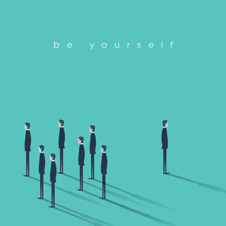 Be yourself business concept vector illustration. Innovative and creative businessman stand out from the crowd.