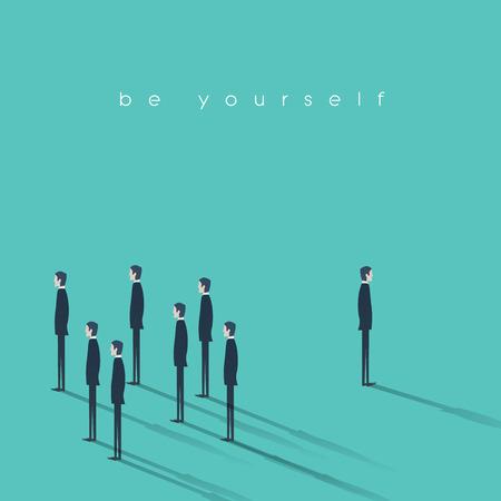 Wees jezelf business concept vector illustratie. Innovatieve en creatieve zakenman onderscheiden van de massa.