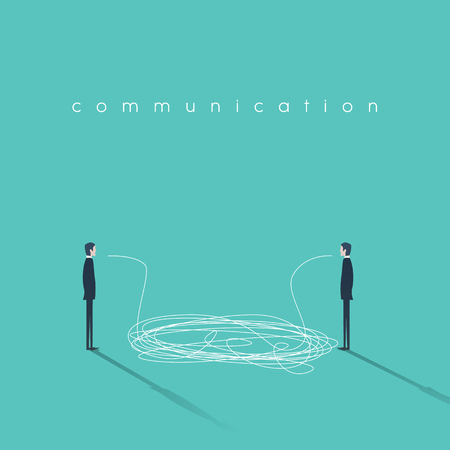 dialogo: comunicación concepto ilustración con líneas enredadas. Los hombres de negocios que tienen conversación símbolo. Signo de mala interpretación o comunicar una avería.