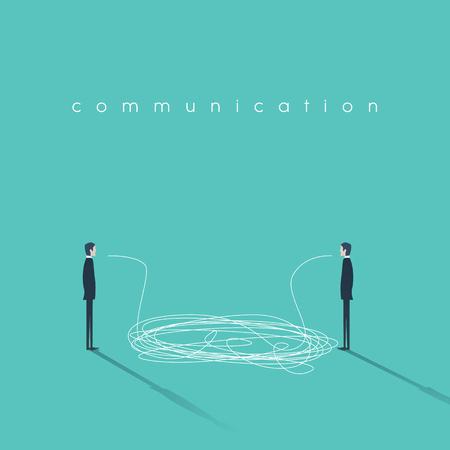 Zakelijke communicatie concept illustratie met een wirwar van lijnen. Ondernemers die gesprek symbool. Teken van misverstand of communiceren afbraak. Vector Illustratie