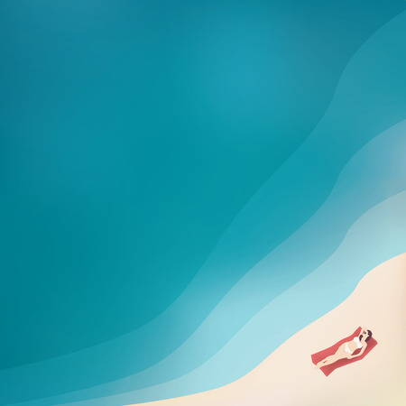 sea view: Woman in bikini lying on a sandy beach next to the clean water ocean. Top aerial view vector background illustration with copy space. Illustration