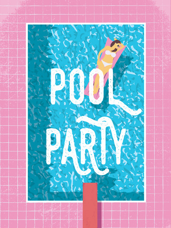 Pool party poster template with woman in bikini sunbathing. 80s retro vintage style vector illustration.