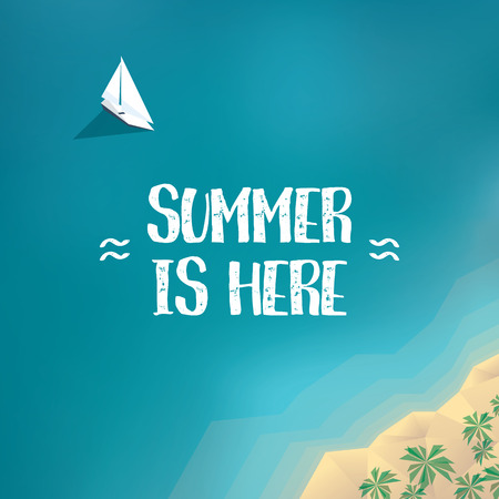 beach view: Summer holiday poster, banner template with yacht in the ocean and sandy beach of tropical island. Low poly. Illustration