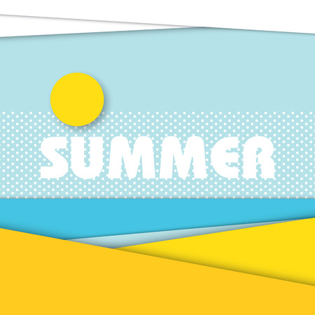 background summer: Summer beach landscape illustration in modern material design style. Sandy beach with ocean in the background and sun with clouds in the sky. Illustration
