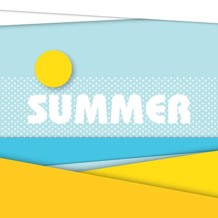 Ilustración del paisaje de la playa del verano en el estilo de diseño de material moderno. Playa de arena con el mar de fondo y el sol con las nubes en el cielo.