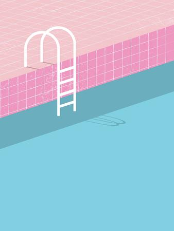 빈티지 스타일의 수영장입니다. 오래 된 레트로 핑크 타일과 흰색 사다리입니다. 여름 포스터 배경 템플릿입니다. 홀리데이 리조트 일러스트