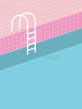 Swimming pool in vintage style. Old retro pink tiles and white ladder. Summer poster background template. Holiday resort