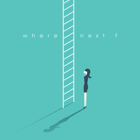 Business career concept with businesswoman and corporate ladder. Work promotion symbol. Woman standing at the beginning of a career to climb and get promotions. Vettoriali